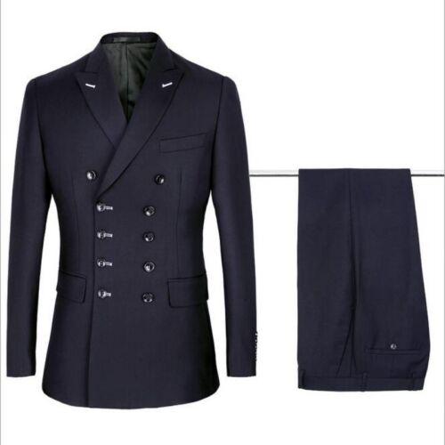 Fashion Men Double Breasted Solid Leisure Business Suit Jacket Pant 2Pcs Sets Sz