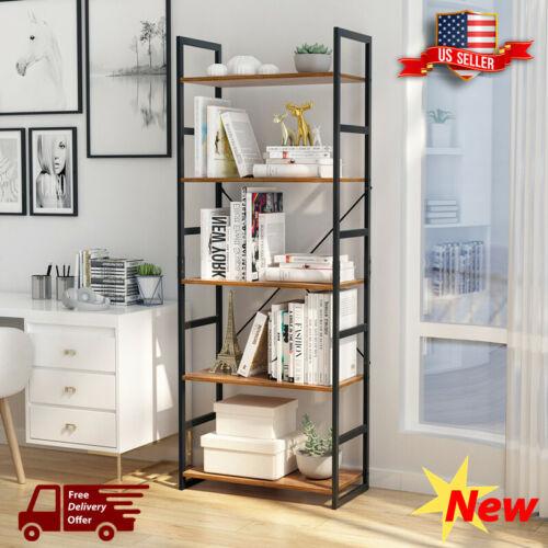 5-Tier Bookshelf Organizer Metal Frame Bookcase Stand Storag