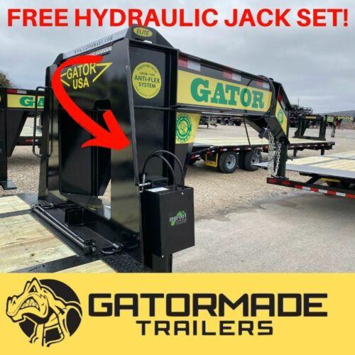 Gooseneck Trailer, brand New 2020 Gator Flatbed with FREE HYDRAULIC JACK SET