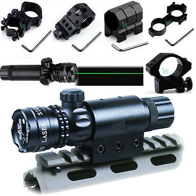 - Adjustable Tactical Green Laser Sight Rifle Dot Scope w Mount F Hunting Shooting