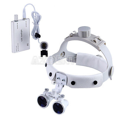 Dental Headband Binocular Loupes Magnifier Glasses 3.5x-r Led Headlight Lamp