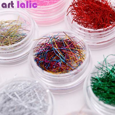 - 12 Colors Metallic Colorful Line String Roll Glitter Extra Fine DIY Nail Art Set