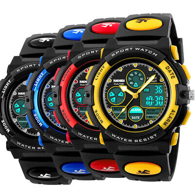 SKMEI Kids Boys Girl Child Waterproof Rubber Sports EL LED Digital Watch Outdoor