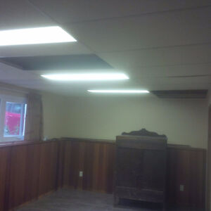 Drop ceiling tile and track plus fluorescent lights