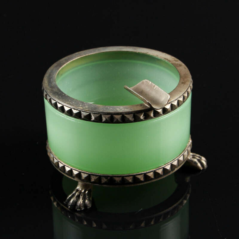 Vintage French opaline ashtray with feet silver polished metal round green
