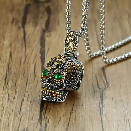 """Giant Sugar Skull Necklace 30/""""chain day of the dead pendant Flower rose Mexican"""