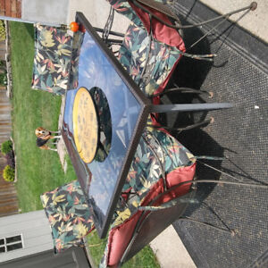 Glass table and 4 rod iron chairs