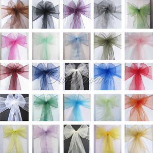 100-Organza-Sash-Chair-Bow-Wedding-Banquet-Decor-Colors