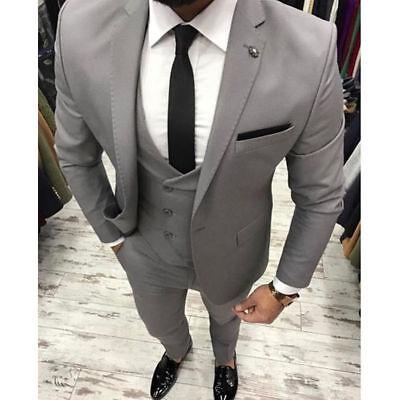 Slim Fit Grey Groom Best Man Tuxedos Wedding Prom Party Men Suit Dinner