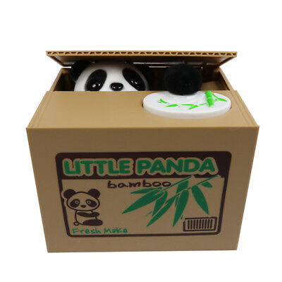 Cute Panda Automated Piggy Bank Money Box Stealing Coin Saving Money Box Gift (Piggy Bank Plastic)