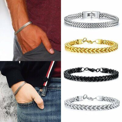 Bangle Silver Link Bracelets (Men's Stainless Steel Bracelets Cuff Bangle Double Chain Hiphop Silver Link)