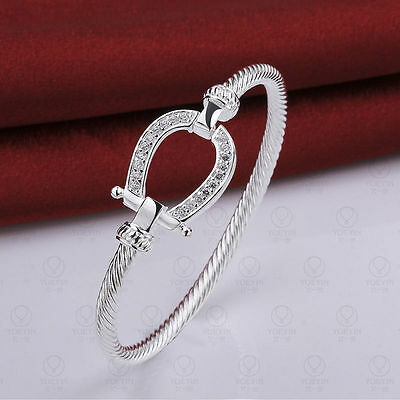 (Womens 925 Sterling Silver Twisted Cable CZ Crystal Bangle Fashion Bracelet B136)