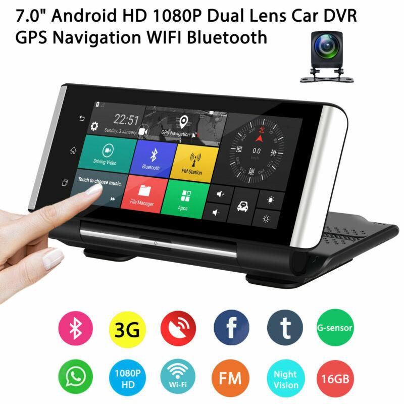 7'' HD 1080P Dual Lens Car DVR Dash Cam Android GPS Navigati