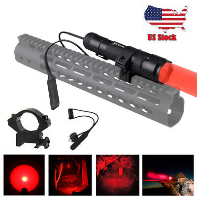 350 Yard Red Coon Hunting Light Beam Predator Night Light Flashlight Scope Mount
