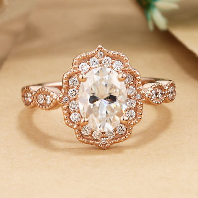 - 1.40 CT Sim Diamond Vintage Classic Engagement Wedding Ring Solid 14k Rose Gold