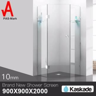 Shower Screen 900x900x2000mm Frameless Glass