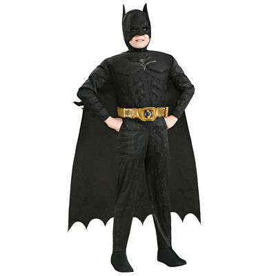 Kids Deluxe Muscle Chest Dark Knight Batman Child Boy Superhero Cosplay Costume