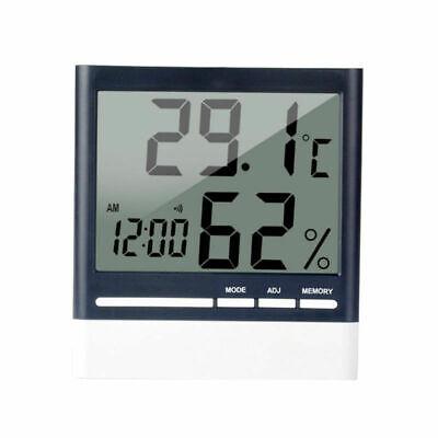Weiß LCD Innenthermometer Hygrometer Zimmerthermometer Luftfeuchte Digital Uhr