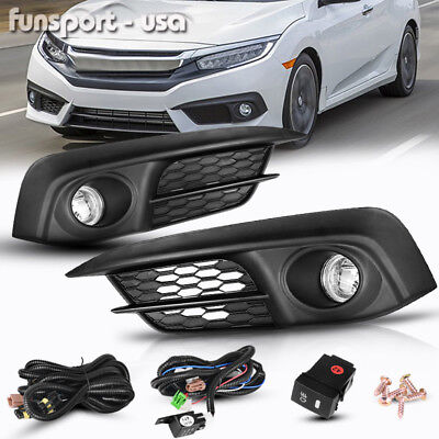 for 2016 2017 Honda Civic 2/4Dr Clear Front Bumper Fog Lights Lamps+Switch+Bulbs