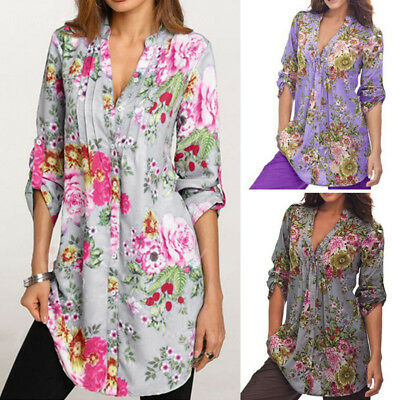V-neck Vintage Tunic - Women's Vintage Floral Print V-neck Tunic Tops Swing Oversize Plus Blouse USA