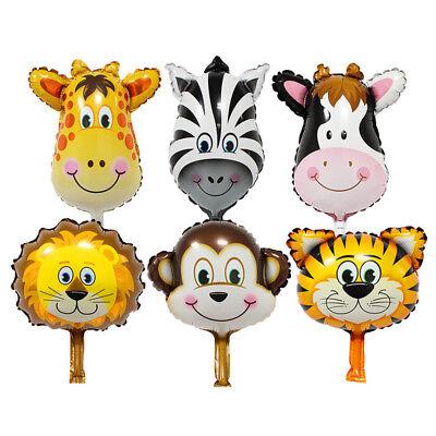 6PCS Mini Animal Head Foil Balloons Baby Show Birthday Decoration  - Animal Birthday
