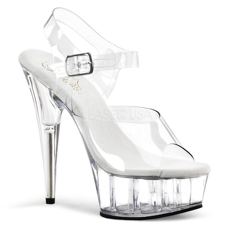 "PLEASER Sexy Womens Stripper Dancer DEL608 6"" High Heels Pla"