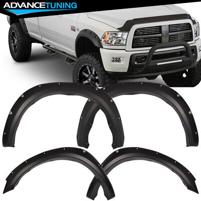 Fits 10-17 Dodge Ram 2500 3500 Pocket Rivet Fender Flares PP Smooth Matte Black