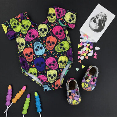 US Boutique Newborn Baby Girls Boy Skull Romper Jumpsuit Clothes Outfits Summer