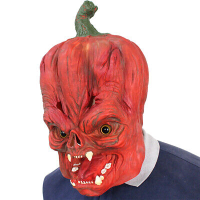 Scary Pumpkin Full Head Mask Deluxe Novelty Halloween Costume Party Latex Orange