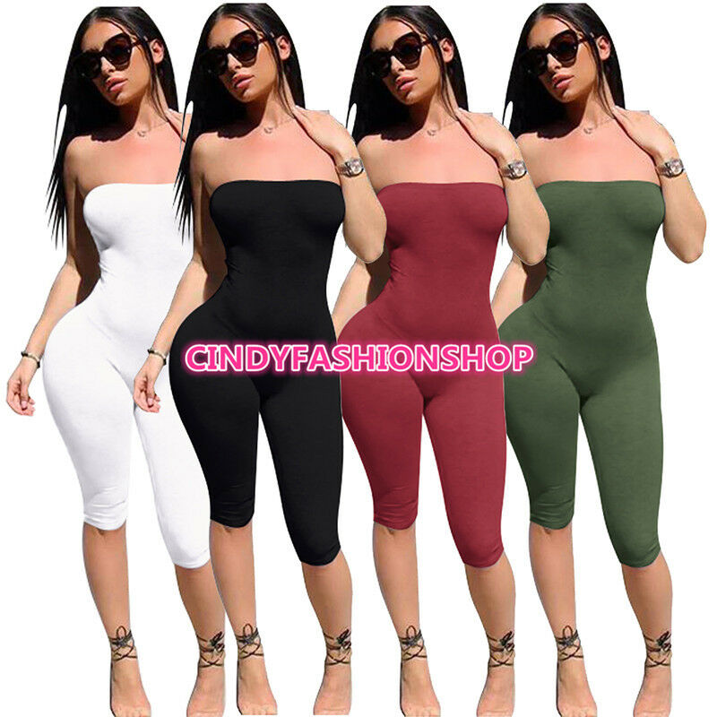 Women Summer Sexy Strapless Off Shoulder Body con Playsuit J