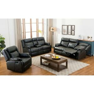 Leather air 3 piece recliner set,black or brown, New in packages