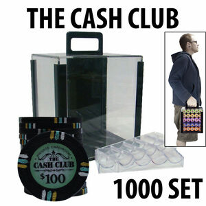 CASH CLUB POKER CHIP SET - CHIPS 1000 W/ CARRIER