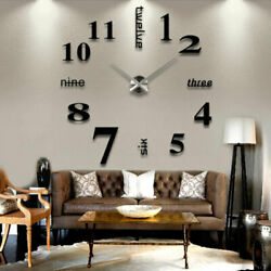 3D DIY Creative Large Wall Clock Mirror Sticker Living Room Home Modern Decor