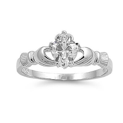 - .925 Sterling Silver Irish Heart Shaped Clear CZ Claddagh Promise Ring Size 4-10