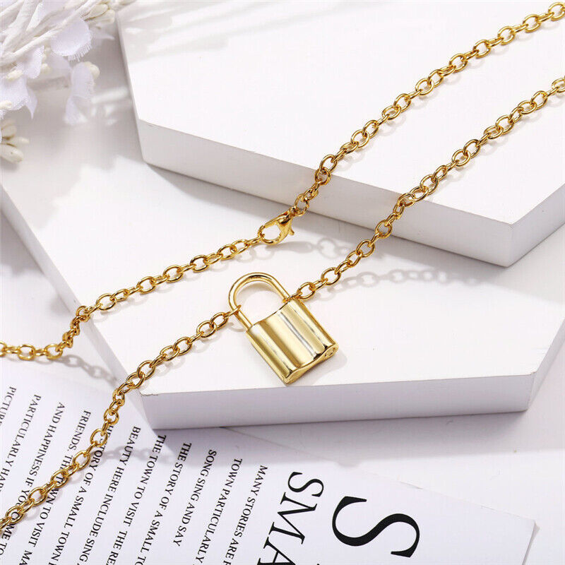 Alloy Lock Pendant Necklace Charms Padlock Long Chain Choker Jewelry Fashion 8