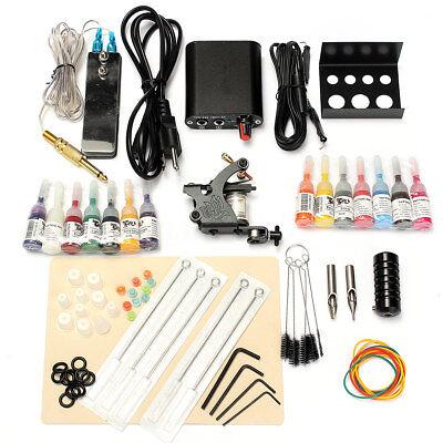 Completo Kit Tatuaggio Tattoo Macchina Gun 14 Colore Inchiostro Power Supply Set