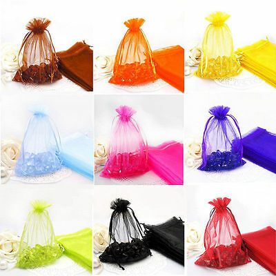 Mesh Gift Bags (100X Organza Bags Jewelry Candy Pouch Mesh Drawstring Wedding Party Favour)