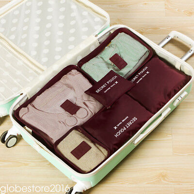 6pcs Travel Bags Waterproof Clothes Storage Luggage Organizer Pouch Packing Cube