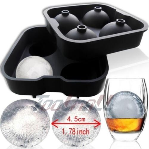 New Round Ice Balls Maker Tray FOUR Large Sphere Molds Cube