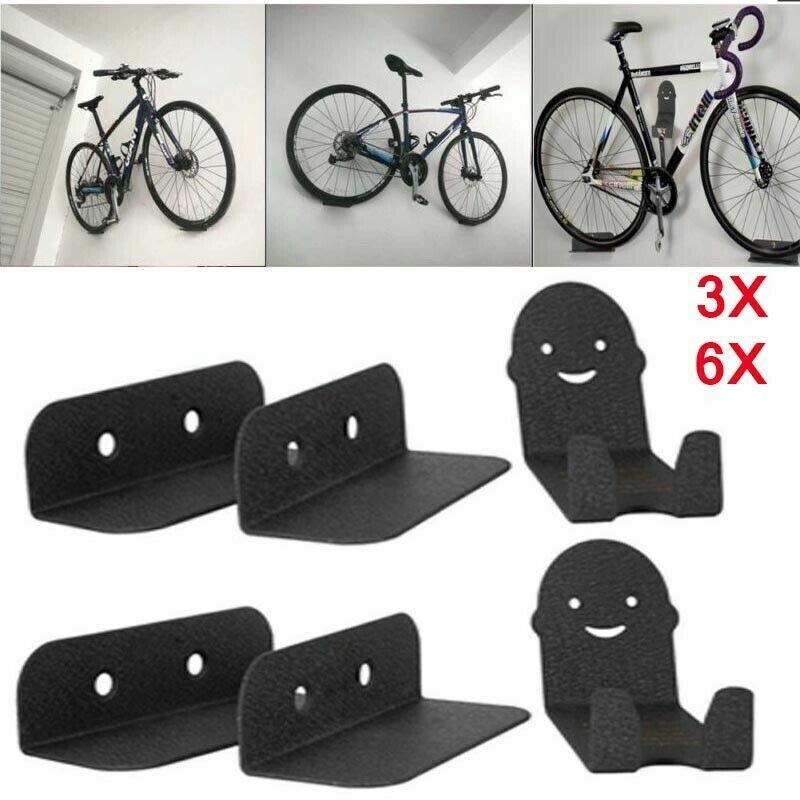 3//6X Bike Pedal Hook Wheel Holder Wall Mounted Bracket Hanger Storage Cycle Rack