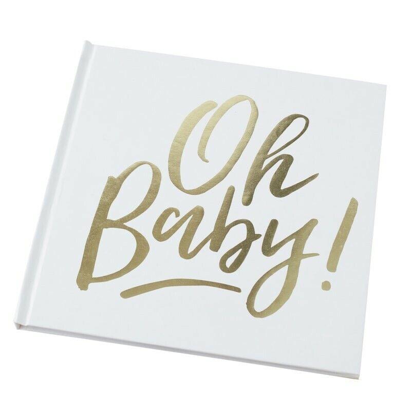 Gästebuch Oh Baby! | Baby-Party Album Baby Shower Erinnerung Fotoalbum Weiß Gold