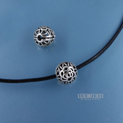 2PC Antiqued Solid Sterling Silver Hollow Floral Round Beads 10mm #33820