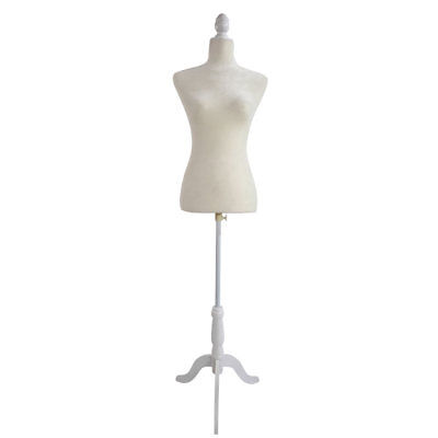 White Female Mannequin Torso Dress Form Display W White Tripod Stand Body Size