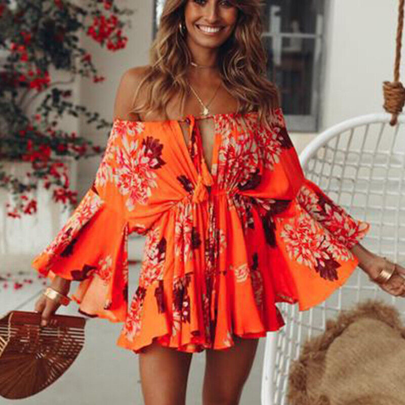 Women Floral Ruffle Off Shoulder Mini Dress Summer Holiday Beach Boho Sundress Clothing, Shoes & Accessories