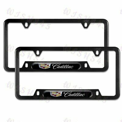 NEW 2PCS For CADILLAC Black Metal Stainless Steel License Plate Frame
