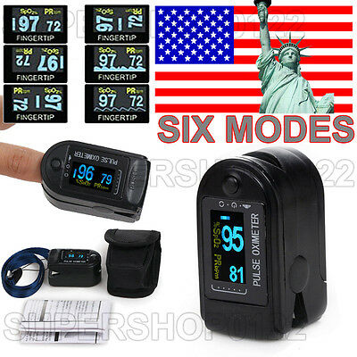 USA!!! Finger Tip Pulse Oximeter Blood Oxygen SpO2 PR Monitor OLED CMS50D Black on Rummage
