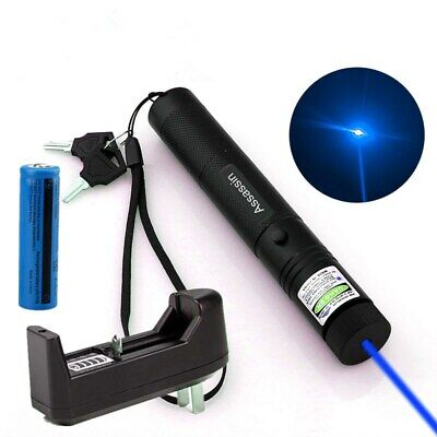 900 Miles Blue Purple Laser Pointer Pen 405nm Bright Visible Beam+18650+Charger