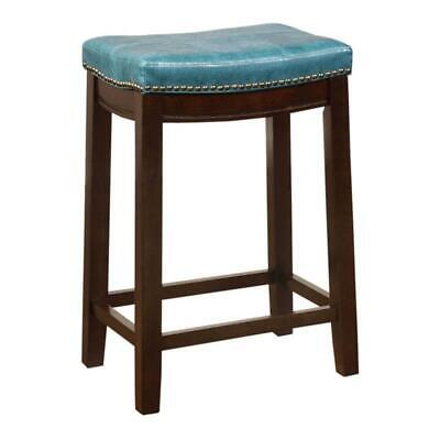 """Benjara 24"""" Wood Counter Stool with Faux Leather Upholstery"""