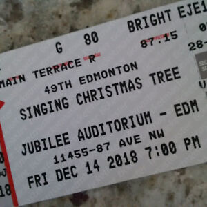 3 Great Tickets Singing Christmas Tree Jubilee Friday Dec 14 7PM