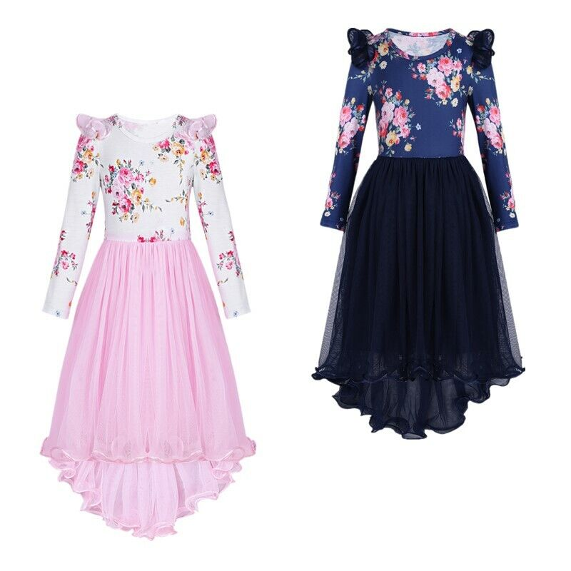 Baby Kids Girls Ruffle Long Sleeve Denim Dress Floral Casual Skater Dresses UK